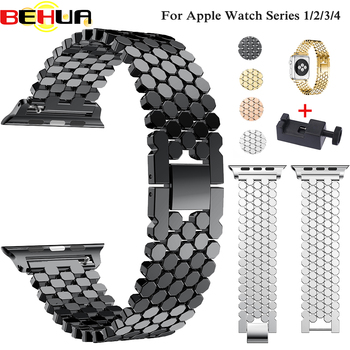 luxury stainless steel watch strap for apple watch band 42mm 38mm link bracelet band for iwatch 4 bands 44mm 40mm series 3 2 1 Watch Bands For Apple Watch 42mm Series 5 4 3 2 Band Stainless Steel Replacement Straps Bracelet For iWatch 40mm 44mm 38mm strap