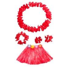 Женская и Женская Гавайская нарядная юбка из соломки ожерелье леи бюстгальтер с цветочками хула товары для домашнего сада
