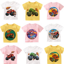 Blaze and the monster machines crianças camiseta 2021 verão manga curta unissex topo menino padrão de carro impressão crianças camisa de fundo