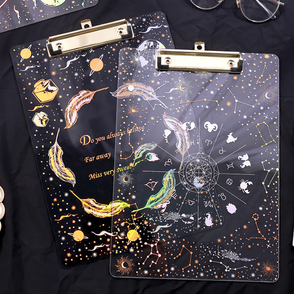 Creative Acrylic Starry Sky Transparent Feather  Writing Board Clip A4 Paper  Document Holder Office Supplies Student Stationery