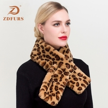 ZDFURS*Faux Rabbit Fur Collar Scarf Women Keep Warm Thickening Sjaal Colorful Leopard Print Cross Winter Autumn