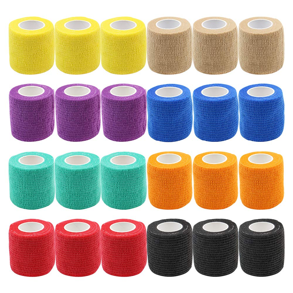 24PCS Mix 8 Color Tattoo Grip Bandage Cover Wraps 5cm Nonwoven Waterproof Self Adhesive Finger Wrist Tattoo Accessories