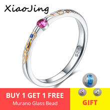 New fashion 925 Sterling Silver Romantic Pink&Blue Cubic Zircon Gold Pattern Finger Rings for Women Wedding Jewelry gift