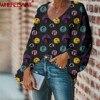 WHEREISART Nightmare before Christmas Women Deep V-neck Shirts 2020 Plus Size Ladies Tops Blouse Halloween Design Fashion Blouse 2