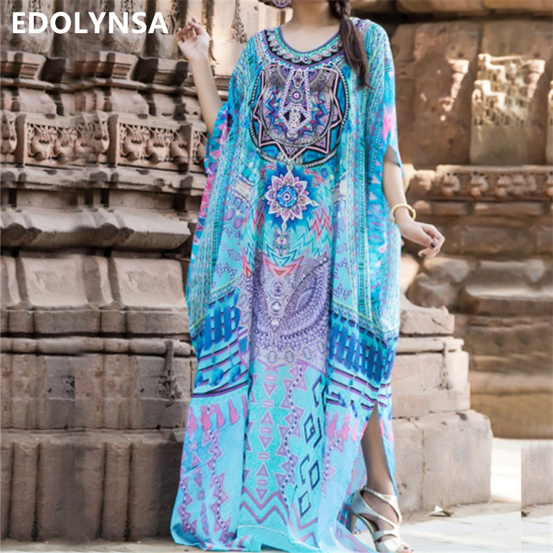 2019 Bohemian Printed Women Caftan Beach Dress Bathing Suit Cover Up Summer Tunic For Woman Beachwear Robe De Plage Kaftan #Q741