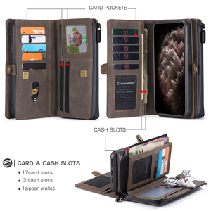 Image 3 - New PU Leather Flip Wallet Cover for iPhone 12 mini 11 Pro Max Xs Max XR X 8 7 Plus SE Multi functional Magnetic Phone Case