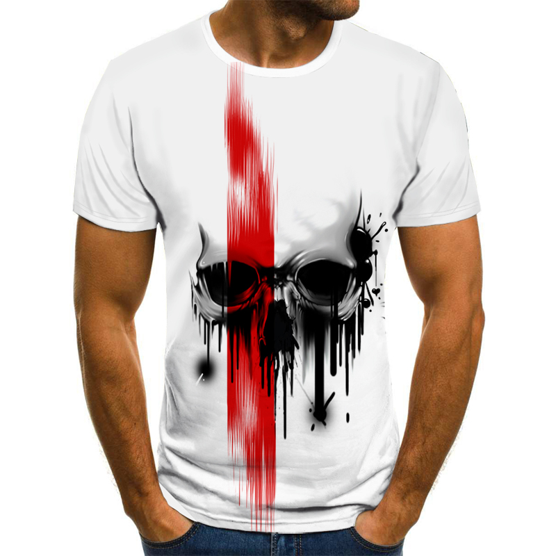 Horror Skull Men's T-shirt Summer Casual Tops 3D Printed Fashion Short-sleeved New Round Neck Shirt Trendy Streetwear