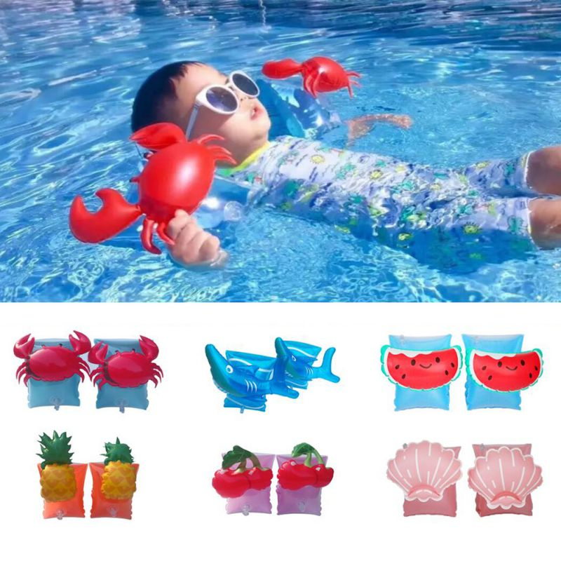 1 Pair Children's Arm Swimming Ring Floating Sleeves Flamingo Crab Shape Swimming Ring Cute Animal Shapes