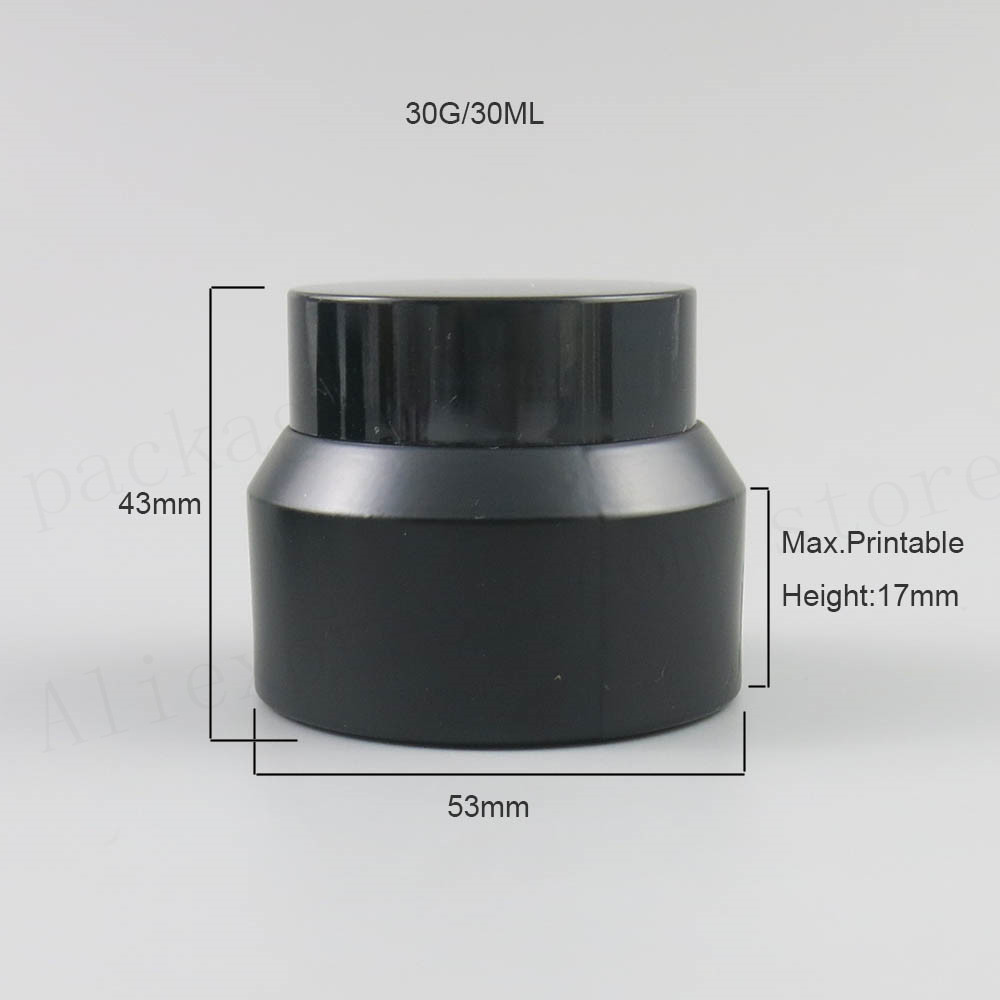 New Design 200 x 15G 30G 50G Frost Cream Glass Jar With Black Lids white Seal Container Cosmetic Packaging, 15G Glass Cream Pot