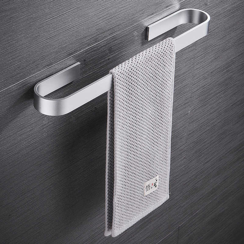 Towel Holder Bathroom Towels Rack Hanger Black Silver Space Aluminum Wall Hanging Towel Bar Organizer Kitchen Storage Shelf