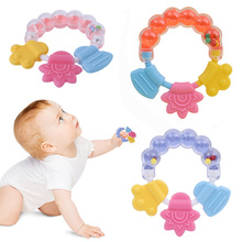 Ребенок погремушка прорезыватель малыш младенец силикон прорезыватели игрушка новорожденный красочный зубы кусание колокольчик колокольчик мультфильм игрушки для детей подарки