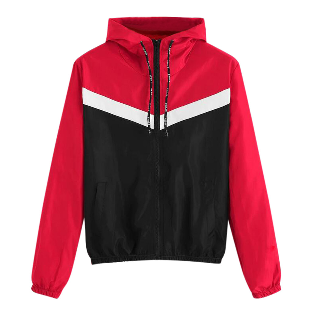 2020 Thin Running Jacket For Women Zipper Up Long Sleeve Patchwork Sport Jacket Loose Ladies Hoodies Pockets Sports Clothing