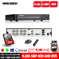 4 Channel 8 Channel CCTV DVR 5MP H.265 5.0mp 4MP Cloud Video Recorder For Surveillance Security CCTV IP AHD TVI Camera