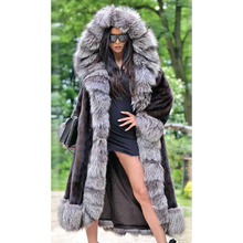 Winter Fashion Real Mink Fur Coat with Silver Fox Fur Long Collar High Quality Hooded Mink Fur Coats Genuine Fur Overcoats Woman