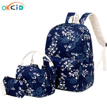 OKKID 3pcs/set kids flower school backpack set chinese style female travel backpack floral school bags for girls pen pencil bag(China)