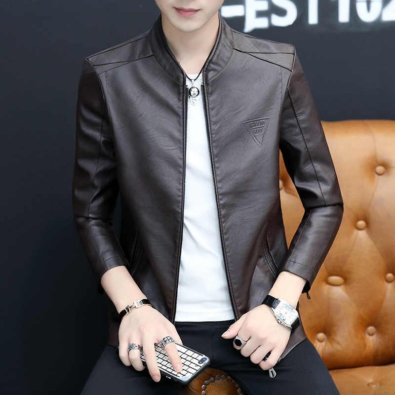 Lente En Herfst Nieuwe Stijl Effen Kleur Jeugd Koreaanse stijl Mode Casual Slim Fit Cool Reliëf MANNEN Lederen Jas