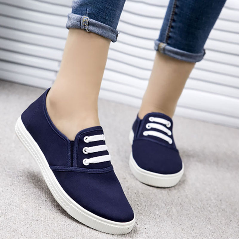 Canvas Shoes Women New Spring Fashion Lace Up Casual Shoes Women's Vulcanize Shoes Woman Comfortable Ladies Flat White Shoes
