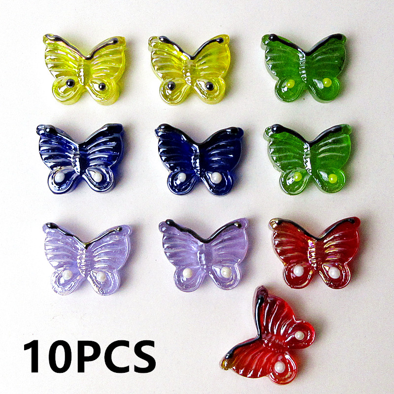 10pcs NEW Custom Flat Bottom Handmade Glass Butterfly Mini Insect Animal Easter Decor Collectible Figurine Fairy Garden Ornament