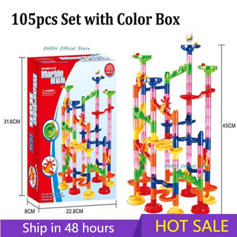 29/80/105pcs Marble Run Building Blocks Funnel Slide Bricks Toys For Children Kids Labyrint Rolling Ball Toys Educational Toys