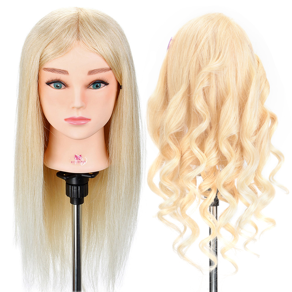 20'' 100% Real Human Hair Mannequin Training Head Salon Hairdressing Doll Head For Hairstyles Display Doll Dummy Doll