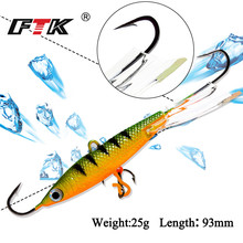 FTK 1PC 25G/93mm Ice Fishing Lures Winter Baits Lead Jigging Bait Hard Lure Balancer With Treble Hooks For Fish