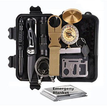 11 in 1 Survival kit Set Outdoor Camping Travel Multifunction First aid SOS EDC Emergency Supplies Tactical for Wilderness /Tri wilderness first aid equipment case