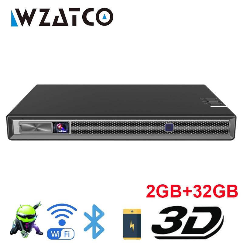 WZATCO T5 HD 4K настоящий 3D DLP проектор батарея с зумом, авто Keystone,Android 6,0 WiFi светодиодный Smart Proyector Bluetooth Airplay