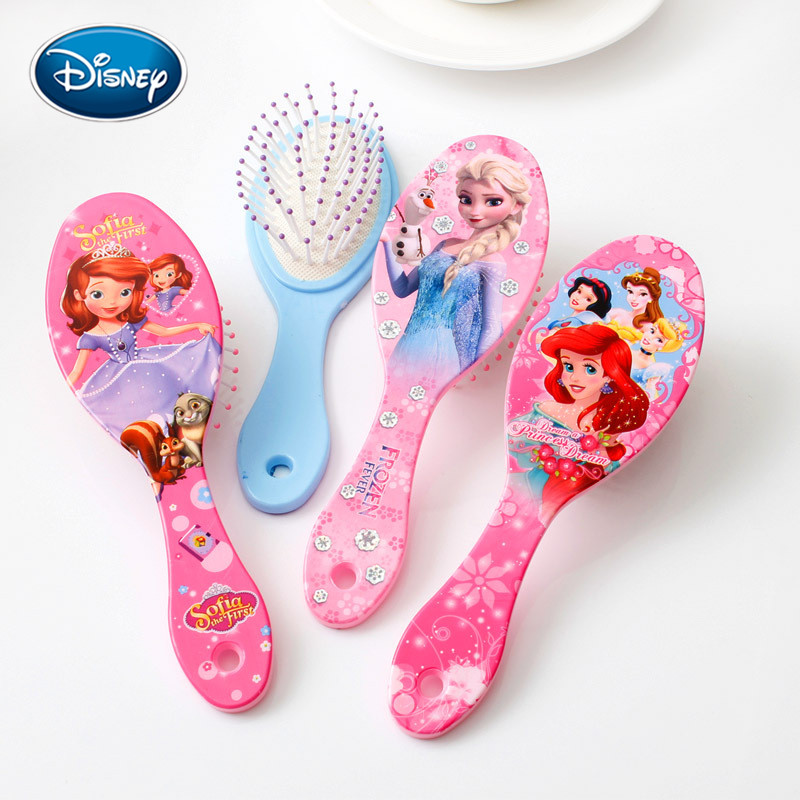 Disney Princess Minnie Frozen Comb Cartoon Cute Beauty Fashion Toys Curly Hair Brush Combs Anti-static Brush Comb