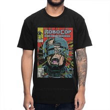 O-neck rock and roll robocop comic camiseta masculina qualidade manga curta tamanho grande homme t camisa caras punk designer streetwear