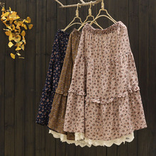 7460 Mori Girl New Spring Women Skirt Literary Cotton Casual Loose Floral Print