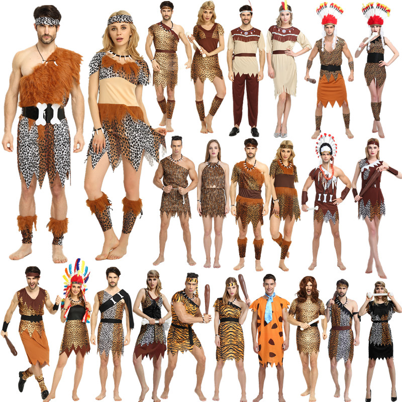 Hot sale cosplay indian halloween costumes for men ,supplies indian dress for women,couples costume Pocahontas Adult Fancy Dress image