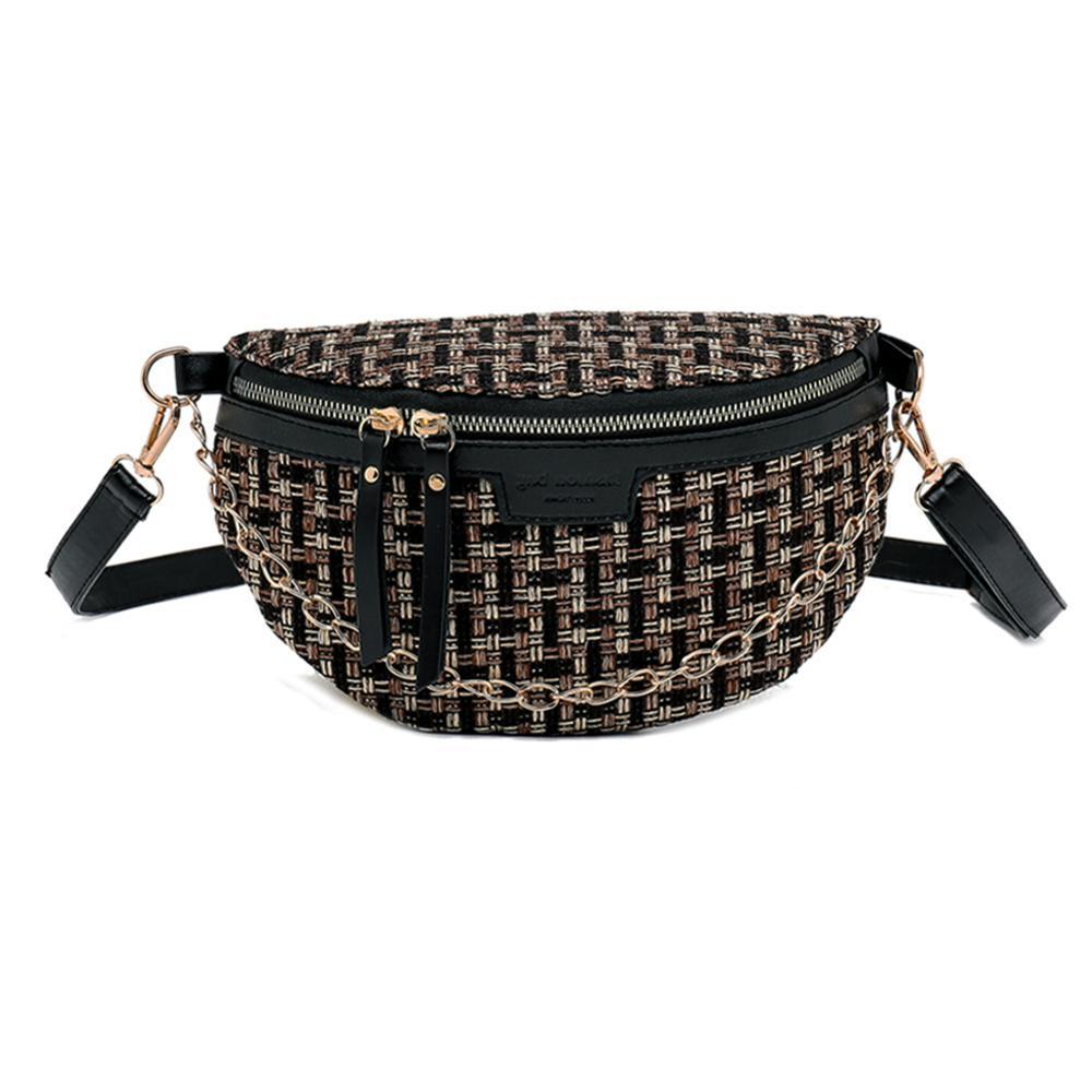 Small Woolen Waist Belt Bag For Women Purse Phone Fanny Pack Classic Shoulder Crossbody Bags Luxury Messenger Travel Money Pouch