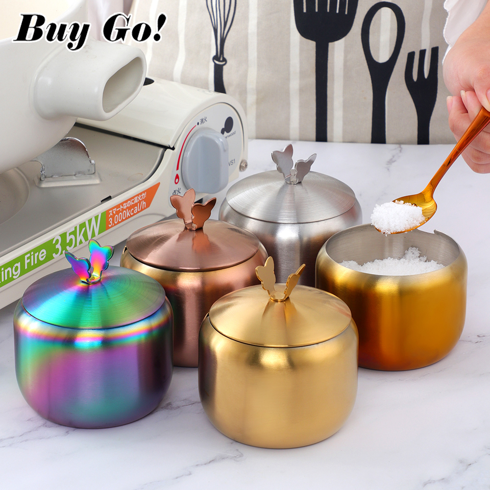 Kitchen Stainless Steel Gold Seasoning Condiment Pot Lovely Design Spice Salt Sugar Container Pepper Jar Tool with Lid and Spoon