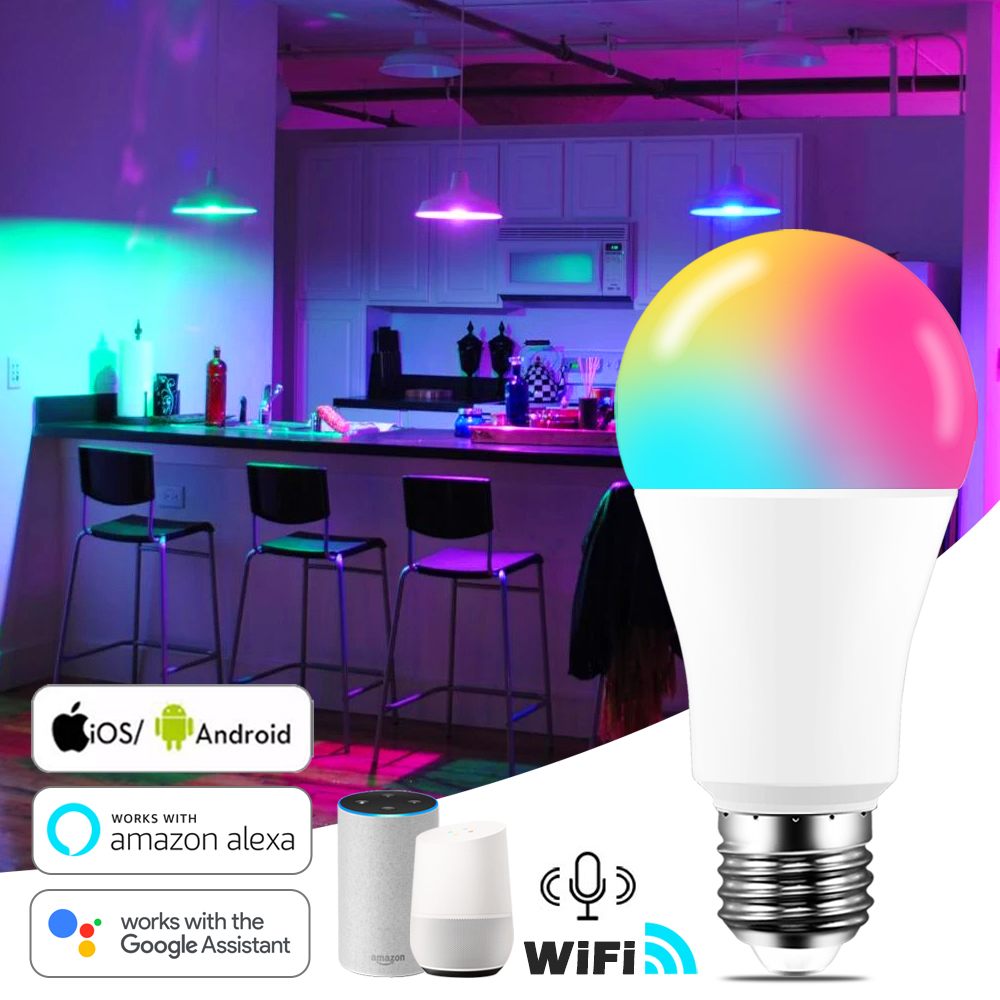 Умная лампа B22 E27 с Wi-Fi, 15 Вт, светодиодная лампа RGB, работает с Alexa/Google Home, 85-265 в, RGB + белый, с регулируемой яркостью, функция таймера, волшебная л...