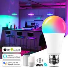 15w wifi inteligente lâmpada b22 e27 led rgb trabalho com alexa/google casa 85-265v rgb + branco função temporizador regulável lâmpada mágica