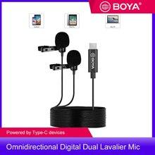 BOYA BY-M3D Dual Lavalier Microphone Omnidirectional Digital Clip-on Lapel Mic 6 Meter for USB Type-C Smartphone iPad Pro Mac PC