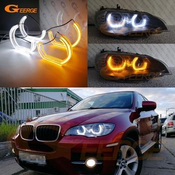 цена на For BMW X6 E71 E72 X6M X5 E70 X5M 2008-2014 Excellent DTM M4 Style LED Angel Eyes White Amber switchback drl turn signal light