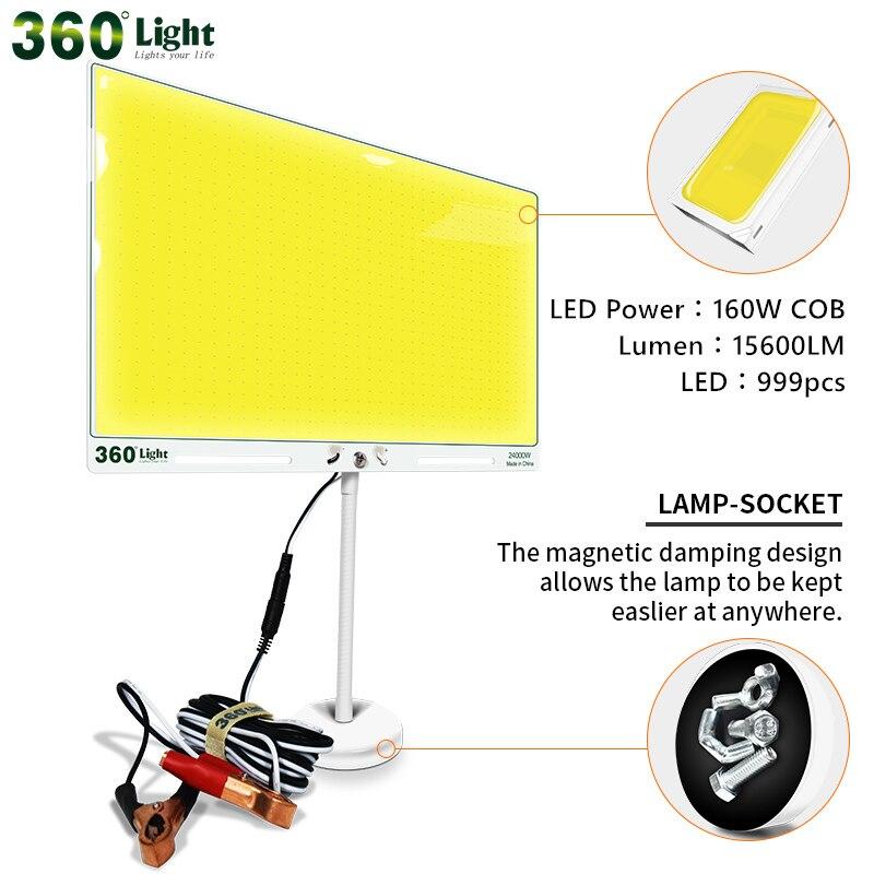 Портативный светодиодный фонарь постоянного тока 12 В, 15600 люмен, 160 Вт, светильник для кемпинга, оборудование для рыбалки, походов, палатка, с