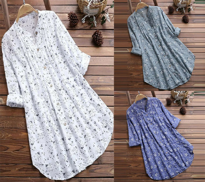 Plus Size Women Floral Long Sleeve Tunic Shirt Loose Tops Button Blouse in Blouses amp Shirts from Women 39 s Clothing