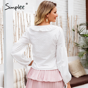Image 5 - Simplee vintage sexy lanterna manga blusa feminina camisa branca bolinhas babados blusa camisas casuais rendas até femme mujer