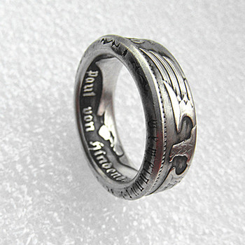 90% Silver Germany Silver Coin Ring 5 MARK Silver Plated Handmade In Sizes 7-12