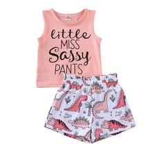 От 1 до 5 лет летние повседневные топы без рукавов для маленьких девочек, майка, футболка шорты штаны Одежда для девочек комплект из 2 предметов