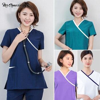 Nuevo uniforme de esteticista de algodón de alta calidad cómodo color sólido, uniforme de esteticista, uniforme de spa, ropa de trabajo al por mayor, logotipo personalizado