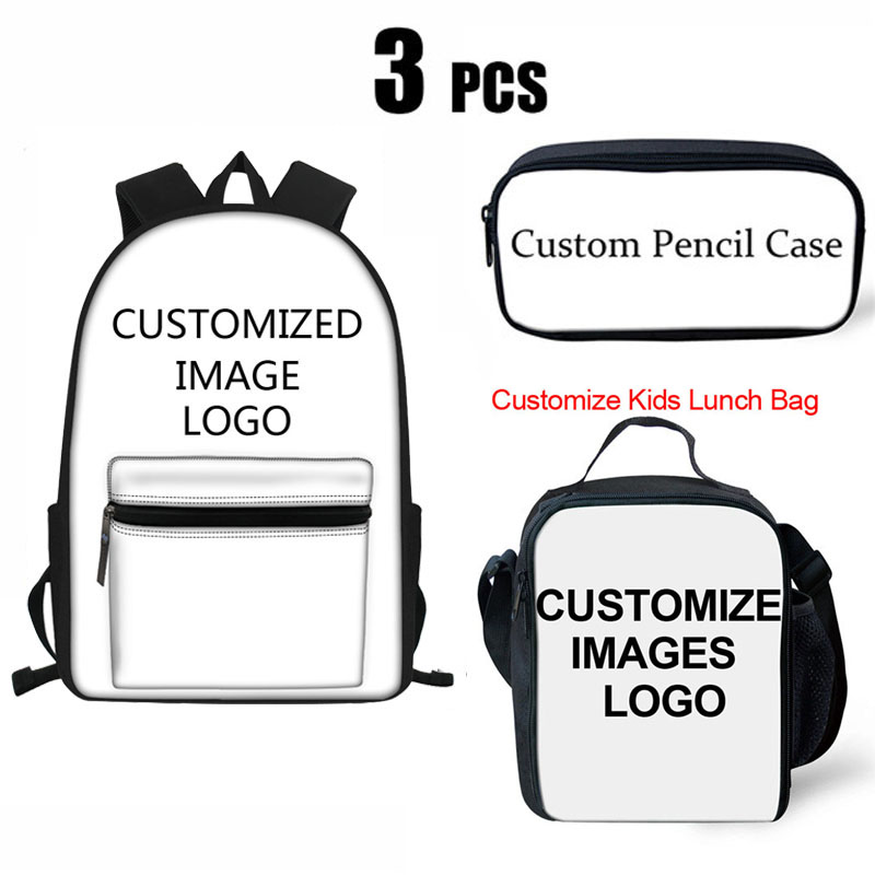 16inch Kids Backpack Girls Boys Customize Image Printing Orthopedic School Bag Set Primary Schoolbag Children Bookbag Sac a dos