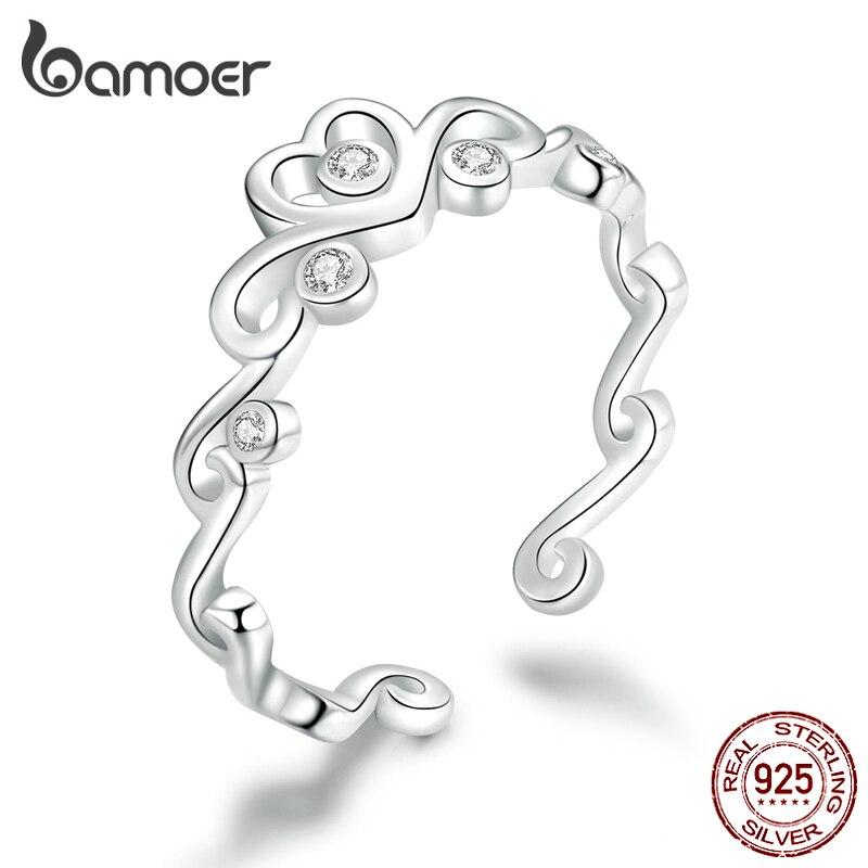 Bamoer 925 Sterling Silver Heart Crown Adjustable Finger Rings For Women Vintage Wedding Engagement Statement Jewelry BSR105