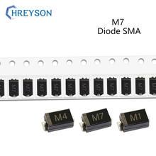 Pcs SMD Diodos Retificadores M7F 50 M7 M4 M2 M1 1A 50V 100V 200V 400V 600V 800V 1000V DO-214AC SMA Diodos De Silício Eletrônico