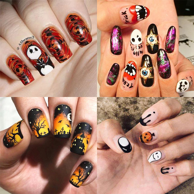 Nail Art Stickers Halloween Pumpkin Mixed Patterns Colorful Nail Art Transfer Stickers for DIY Nail Beauty Design Decorationsuty
