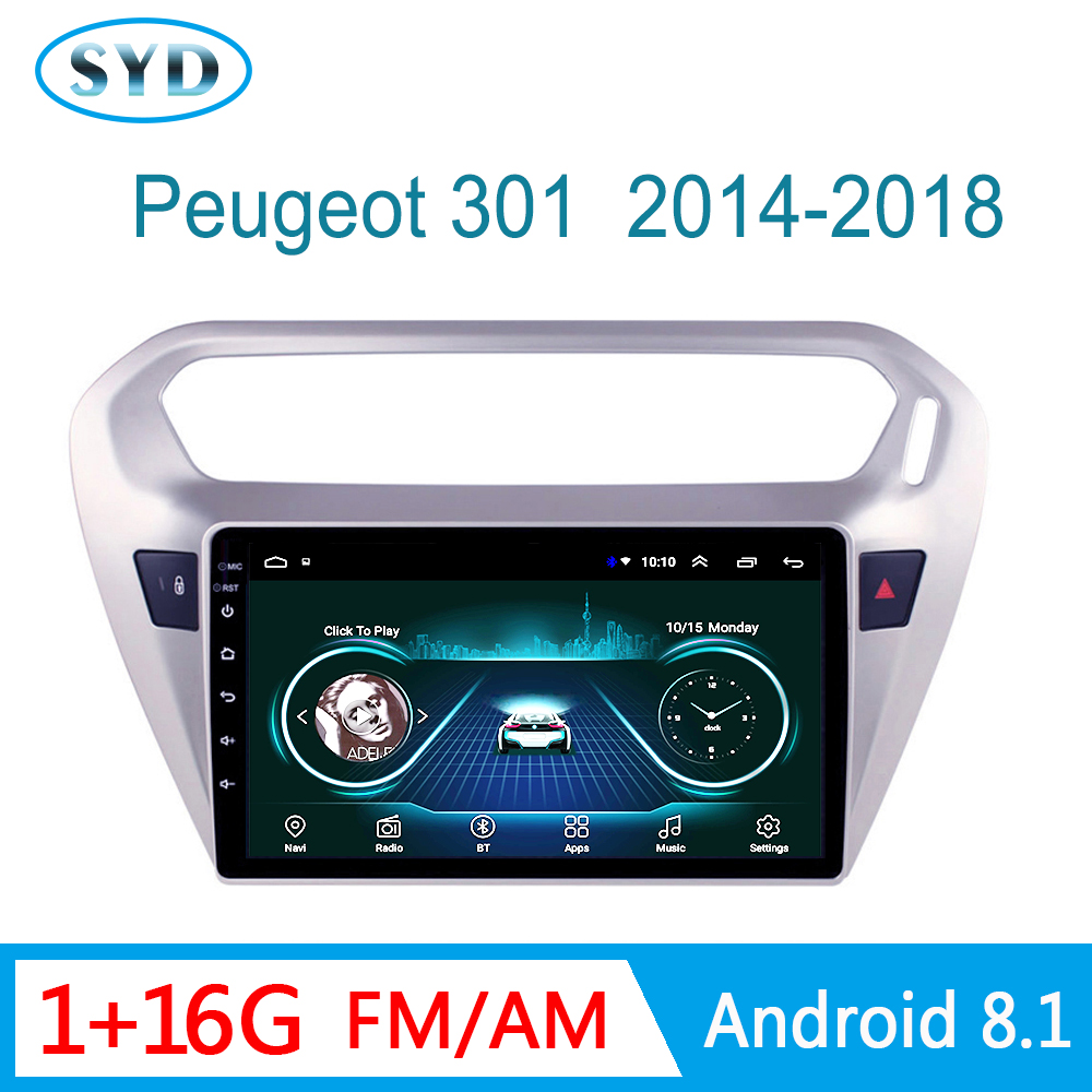 Car Radio central Video <font><b>For</b></font> <font><b>Peugeot</b></font> <font><b>301</b></font> Citroen Elysee 2014-2018 Multimedia stereo system Android 8.1 HD 9inch <font><b>GPS</b></font> Navigation image