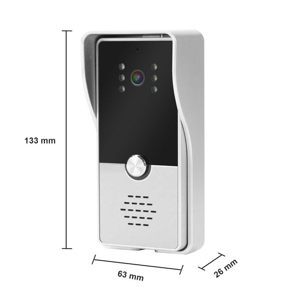 Dragonsview 7 بوصة السلكية جرس باب يتضمن شاشة عرض فيديو هاتف إنتركم للباب نظام أسود سجل 1000TVL كشف الحركة إفتح بطاقة SD