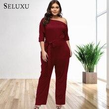 Seluxu 2019 Sexy Plus Size Women Jumpsuit One Shoulder Autumn Club Rompers Womens Party Elegant Long Romper